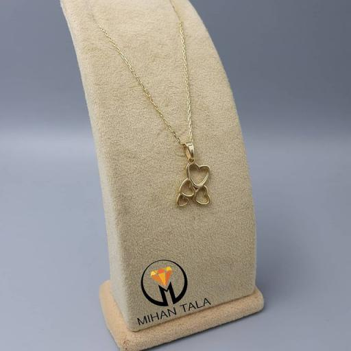 مدال و زنجیر طلا متصل کد7 طرح قلب