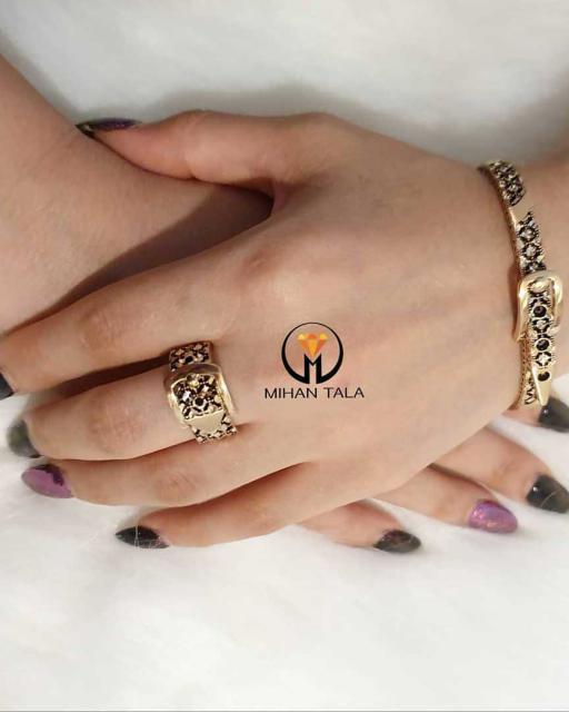 دستبند باریک و انگشتر کمربندی صدف - قیمت انگشتر